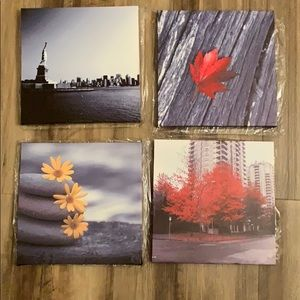 4- 12x12 canvas art, fall colors, flowers, statue